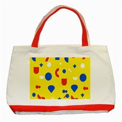 Circle Triangle Red Blue Yellow White Sign Classic Tote Bag (red) by Alisyart