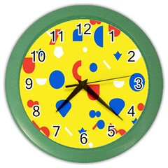 Circle Triangle Red Blue Yellow White Sign Color Wall Clocks by Alisyart