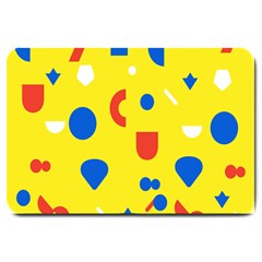 Circle Triangle Red Blue Yellow White Sign Large Doormat  by Alisyart