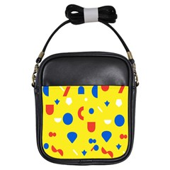 Circle Triangle Red Blue Yellow White Sign Girls Sling Bags by Alisyart