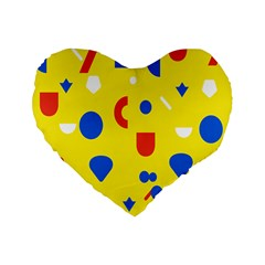 Circle Triangle Red Blue Yellow White Sign Standard 16  Premium Heart Shape Cushions by Alisyart