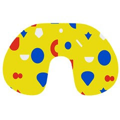 Circle Triangle Red Blue Yellow White Sign Travel Neck Pillows by Alisyart
