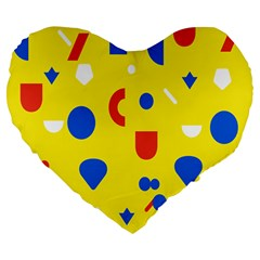 Circle Triangle Red Blue Yellow White Sign Large 19  Premium Flano Heart Shape Cushions by Alisyart