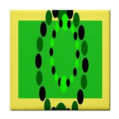 Circular Dot Selections Green Yellow Black Tile Coasters by Alisyart