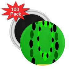 Circular Dot Selections Green Yellow Black 2 25  Magnets (100 Pack)  by Alisyart