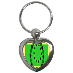 Circular Dot Selections Green Yellow Black Key Chains (heart)  by Alisyart