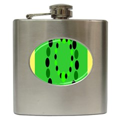 Circular Dot Selections Green Yellow Black Hip Flask (6 Oz) by Alisyart