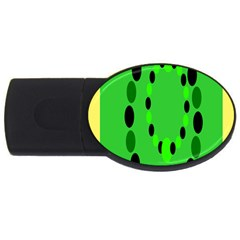 Circular Dot Selections Green Yellow Black Usb Flash Drive Oval (2 Gb)