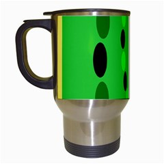 Circular Dot Selections Green Yellow Black Travel Mugs (white) by Alisyart