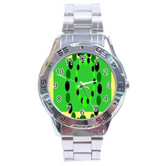 Circular Dot Selections Green Yellow Black Stainless Steel Analogue Watch by Alisyart