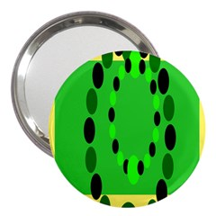 Circular Dot Selections Green Yellow Black 3  Handbag Mirrors by Alisyart