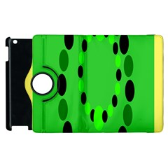 Circular Dot Selections Green Yellow Black Apple Ipad 2 Flip 360 Case by Alisyart