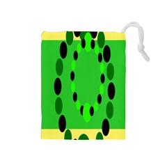Circular Dot Selections Green Yellow Black Drawstring Pouches (medium)  by Alisyart