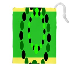 Circular Dot Selections Green Yellow Black Drawstring Pouches (xxl) by Alisyart