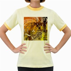 Symbols On Gradient Background Embossed Women s Fitted Ringer T Shirts