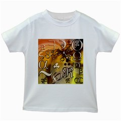 Symbols On Gradient Background Embossed Kids White T Shirts