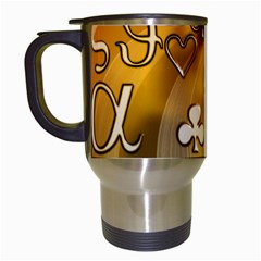 Symbols On Gradient Background Embossed Travel Mugs (white) by Amaryn4rt
