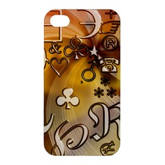 Symbols On Gradient Background Embossed Apple Iphone 4/4s Premium Hardshell Case by Amaryn4rt