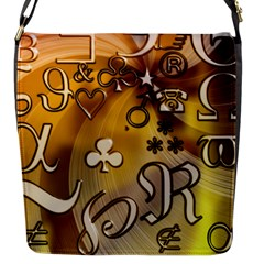 Symbols On Gradient Background Embossed Flap Messenger Bag (s) by Amaryn4rt
