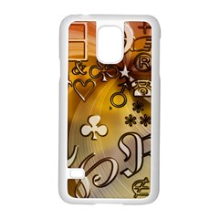 Symbols On Gradient Background Embossed Samsung Galaxy S5 Case (white) by Amaryn4rt