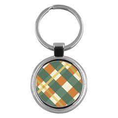 Autumn Plaid Key Chains (round)  by Alisyart
