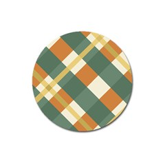 Autumn Plaid Magnet 3  (round) by Alisyart