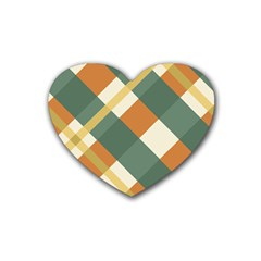Autumn Plaid Rubber Coaster (heart)  by Alisyart