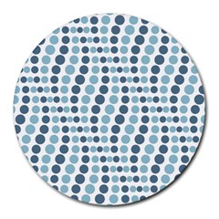 Circle Blue Grey Line Waves Round Mousepads by Alisyart
