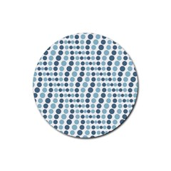 Circle Blue Grey Line Waves Rubber Coaster (round)  by Alisyart
