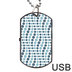 Circle Blue Grey Line Waves Dog Tag Usb Flash (one Side) by Alisyart