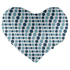 Circle Blue Grey Line Waves Large 19  Premium Flano Heart Shape Cushions by Alisyart