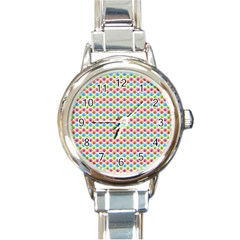 Colorful Floral Seamless Red Blue Green Pink Round Italian Charm Watch by Alisyart