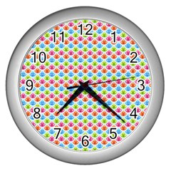 Colorful Floral Seamless Red Blue Green Pink Wall Clocks (silver)  by Alisyart