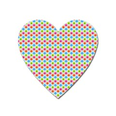 Colorful Floral Seamless Red Blue Green Pink Heart Magnet by Alisyart