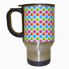 Colorful Floral Seamless Red Blue Green Pink Travel Mugs (white) by Alisyart
