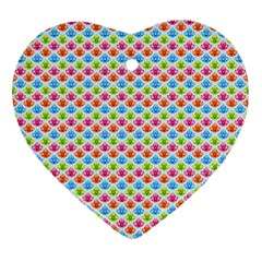 Colorful Floral Seamless Red Blue Green Pink Heart Ornament (two Sides) by Alisyart