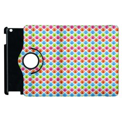 Colorful Floral Seamless Red Blue Green Pink Apple Ipad 3/4 Flip 360 Case by Alisyart