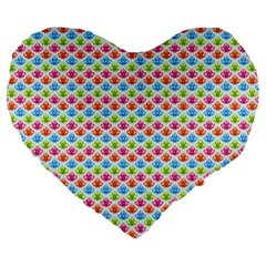 Colorful Floral Seamless Red Blue Green Pink Large 19  Premium Heart Shape Cushions by Alisyart