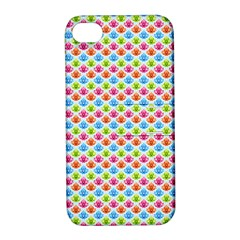 Colorful Floral Seamless Red Blue Green Pink Apple Iphone 4/4s Hardshell Case With Stand by Alisyart