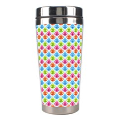 Colorful Floral Seamless Red Blue Green Pink Stainless Steel Travel Tumblers by Alisyart