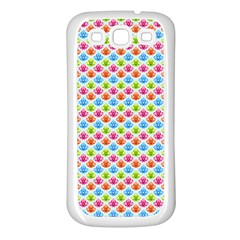 Colorful Floral Seamless Red Blue Green Pink Samsung Galaxy S3 Back Case (white) by Alisyart