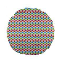 Colorful Floral Seamless Red Blue Green Pink Standard 15  Premium Flano Round Cushions by Alisyart