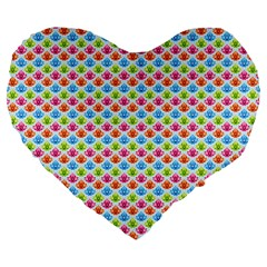 Colorful Floral Seamless Red Blue Green Pink Large 19  Premium Flano Heart Shape Cushions by Alisyart