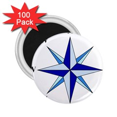 Compass Blue Star 2 25  Magnets (100 Pack)  by Alisyart