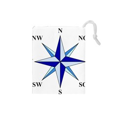 Compass Blue Star Drawstring Pouches (small)  by Alisyart