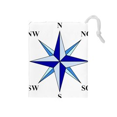 Compass Blue Star Drawstring Pouches (medium)  by Alisyart