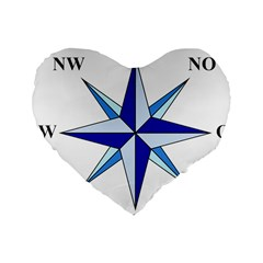 Compass Blue Star Standard 16  Premium Flano Heart Shape Cushions by Alisyart