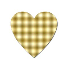 Golden Yellow Tablecloth Plaid Line Heart Magnet by Alisyart