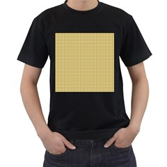 Golden Yellow Tablecloth Plaid Line Men s T Shirt (black) (two Sided) by Alisyart