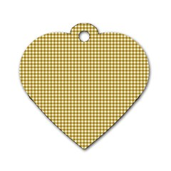 Golden Yellow Tablecloth Plaid Line Dog Tag Heart (two Sides) by Alisyart
